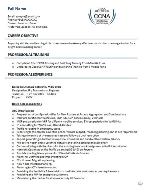 Ccna resume sample for freshers jpg 530x687